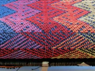 Belinda-Rose-Woven-Fabric-and-Weaving-Courses-in-Banchory-Aberdeenshire-River of life design on TC2 loom