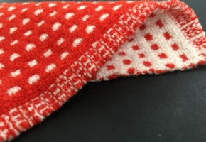 Double weave cloth, red and white