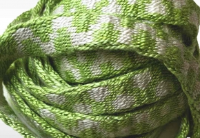 green and white silk tablet woven band