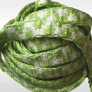 green silk, tablet woven band