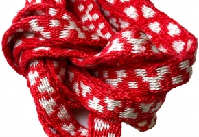 red and white silk tablet woven band