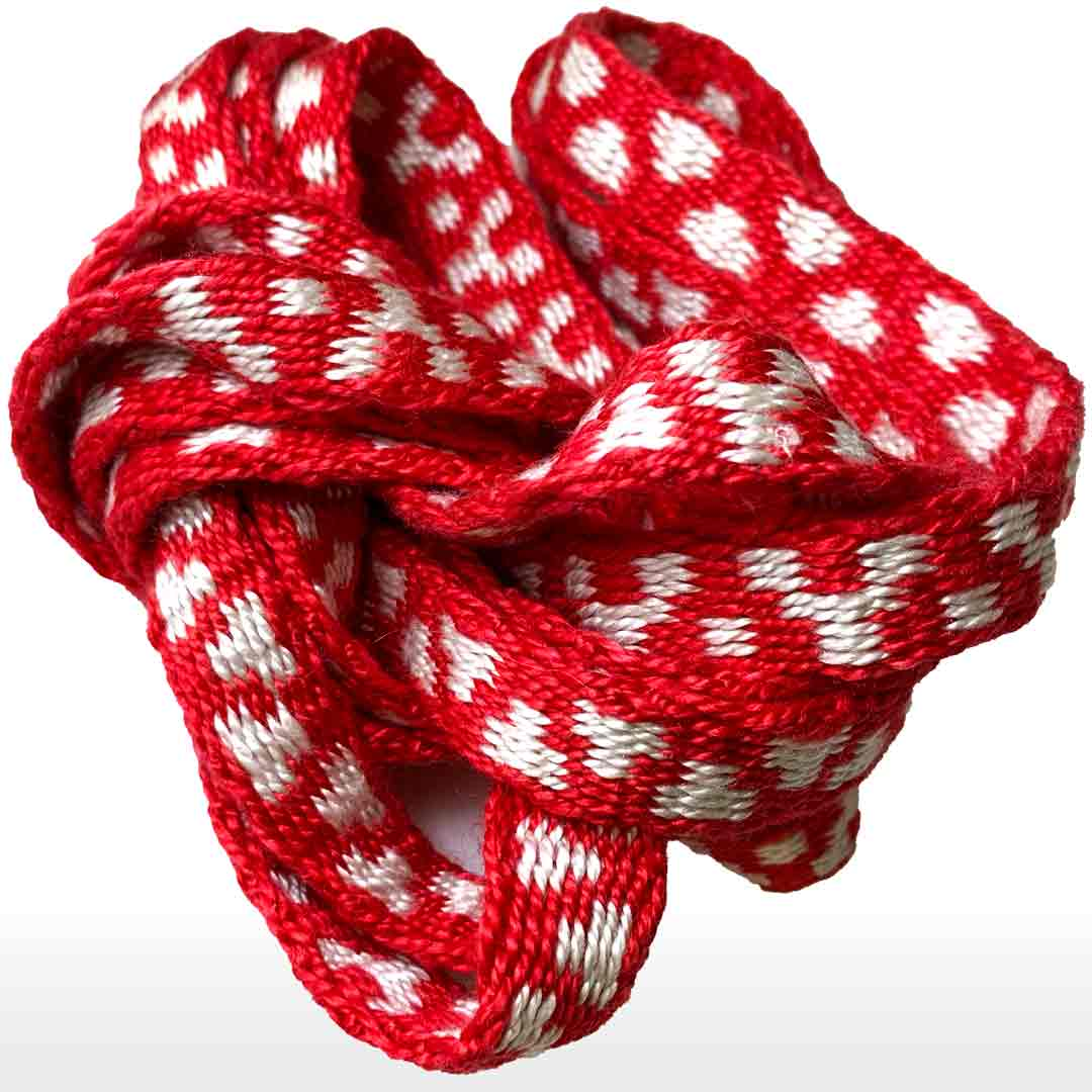 red silk, tablet woven band