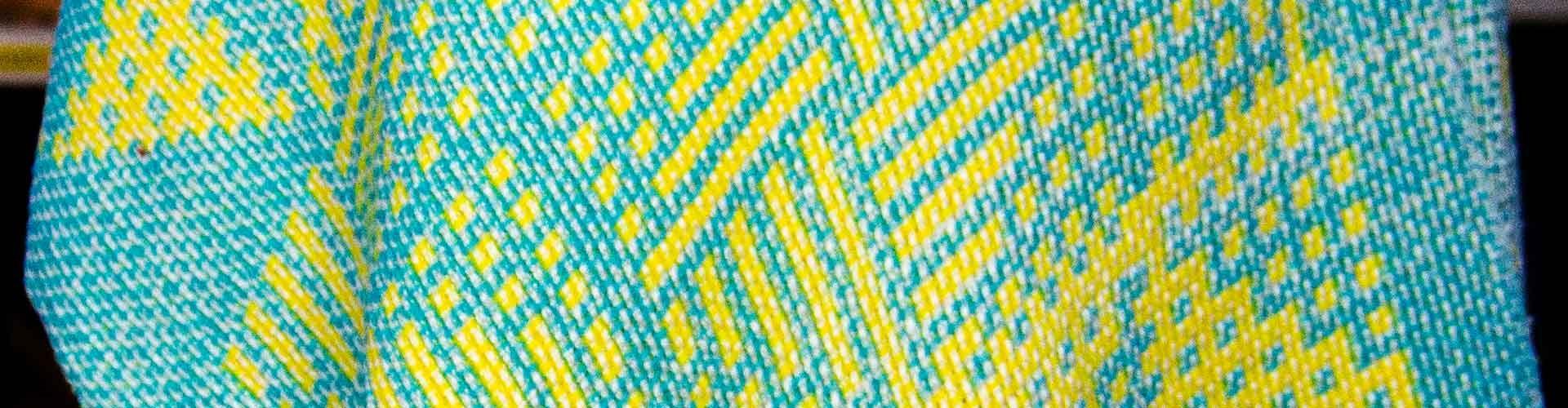 Close up of huck lace shawl