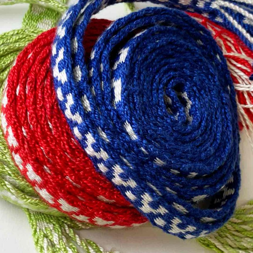 3 tablet woven silk bands
