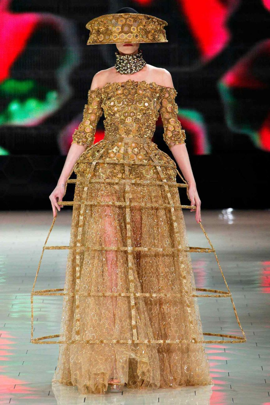 Alexander McQueen's external crinoline dress for Spring 2013