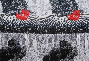 two woven versions of Eyjafjallajokull eruption in 2010
